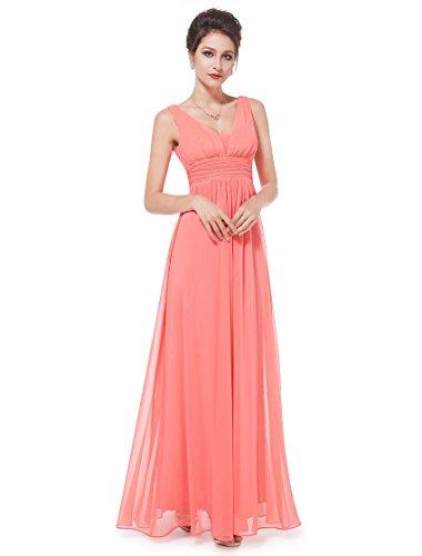 Ever Pretty Robe de Soirée en Double V-col de Style Empire 08110 Corail rouge