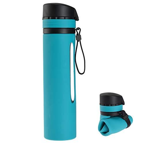 RUNACC Wasserflasche Faltbar Trinkflasche mit Strohhalm, Griff und Auslaufsicherer Verschluss, BPA-frei Fahrradflasche für Reisen, Camping und Radfahren