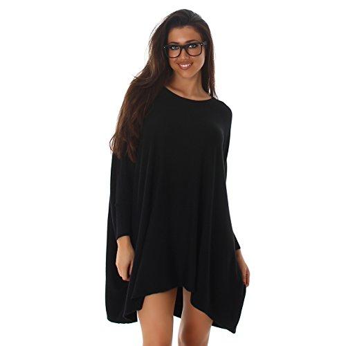 VOYELLES Damen Pullover im Oversize Stil, Fledermausärmel und Rundhalsausschnitt 36-42 Schwarz