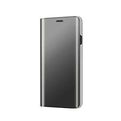Grandcaser Galaxy J2 Pro 2018 Hülle, Transluzentg Spiegel Handyhülle Flip Tasche Case mit Ständer PU Leder Schutzhülle für Samsung Galaxy J2 Pro (2018)/Grand Prime Pro - Schwarz