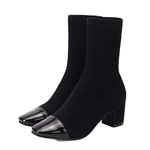 nihiug Damen-Stiefeletten Aus Leder Casual Chelsea Booties Socken Stiefel Elastischen Herbst Quadratischen Kopf Dicke Ferse Wildleder War Dünn,Black-36 -