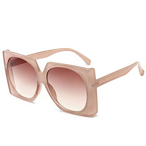 HQMGLASSES Square Thick Frame Sunglasses Bold Geometry Oversized Mod Fashion Unisex Shadow Sun Gläser for Leisure/Shopping,TeaFrame