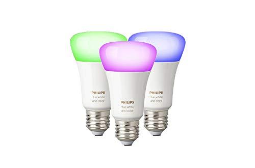 Philips Hue White and Color Ambiance Lampadina LED, E27, 9.5 W, senza Bridge, 3 Pezzi