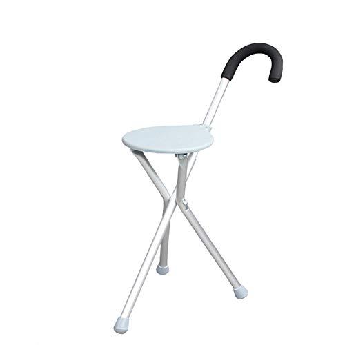 Ergonomische Klapp-krücken (Alter Mann Klapp-Stockwandler, Dreibeiner mit Sitz, Rutschfest/bequem/robust - Silber)