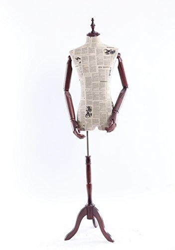 Eurohandisplay Schneiderpuppe, Zeitung Muster stoffbezogene Oberkörper mit Deckel aus Holz ,Arme und Finger aus Holz beliebig verstellbar, dunkler Holzstand (A14-0 Mann)