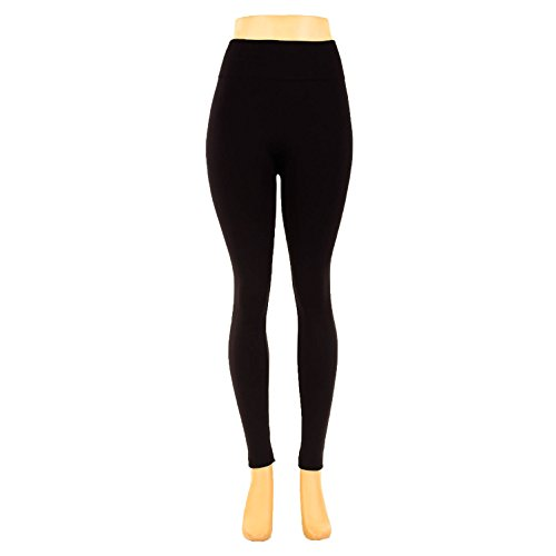 Boolavard Leggings Warm Winter Thermal Faux Gefüttert Legging Strick Dick Slim Super Elastische Strumpfhose (Schwarz)