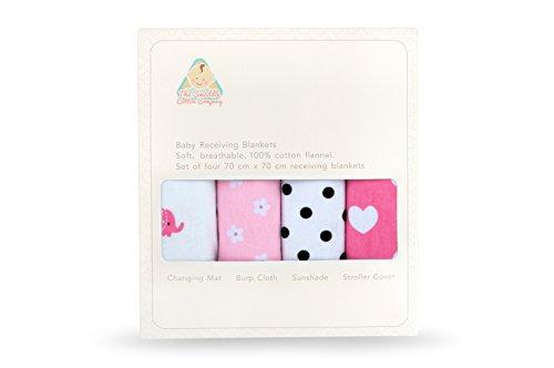 La Swaddle algodón empresa elefantes/Flores/Lunares y corazones (70x 70cm), color rosa/blanco/gris/negro, juego...