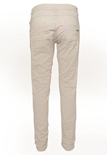SUBLEVEL Damen Stretch Twill-Hose | Leichte 5-Pocket Stoffhose in Grau & Beige light-beige