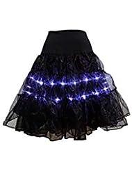 Fascino-M LED Donna Danza Costume Gonna a Palloncino con Elastico in Vita e Allentata Gonna Tutu