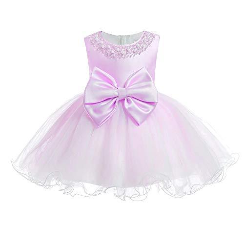 GOWE Kleinkind Mädchen Hübsches Kleid - Spitze Weiche Elegante Ärmellose Baby Hochzeits Geburtstagsfeier Prinzessin Kleid, Rosa Violett, 6M