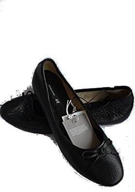 H&M Damen Ballerinas Schuhe Material: Leder Farbe: Black