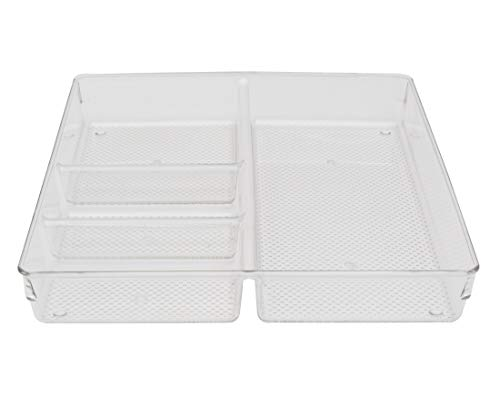 Store2508® Clear Acrylic Organiser Tray with 4 Compartments (30 * 30 * 5 cm) (Pack of 1)
