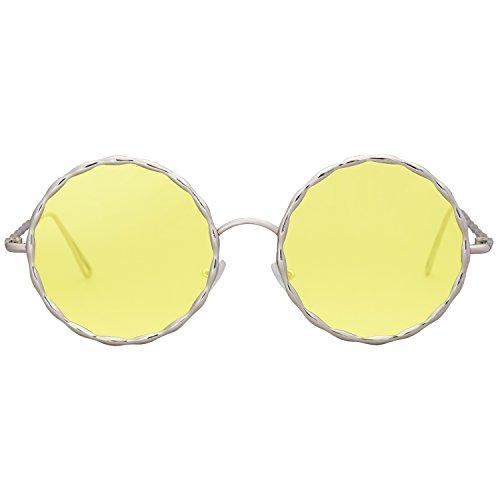 SOJOS Runde Sonnenbrille Schicke Metall Rahmen Groß SJ1090 mit Gold Rahmen/Klare Gelb Linse