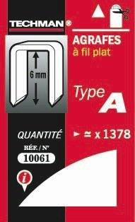 AGRAFES FIL PLAT TYPE A 6MM