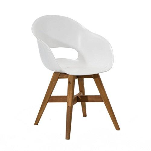PureDay Gartenstuhl Kunststoff Sitzschale Weiß Holz-Beine Akazienholz
