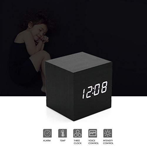 Yukio SmartLife-Wecker Digital Uhr im Holzmaserung Design, Sound Sensor Modern LED Alarm Uhr,Cube, Digital-Zeit Datum Temperaturanzeige - Dual Stromversorgung (USB Kabel/Batterien) (Zeit-cube-uhr)