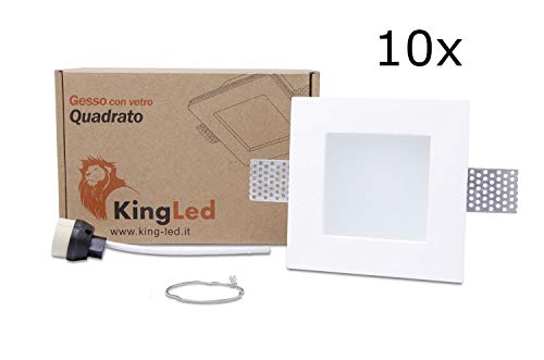 KingLed - 10x Portafaretto in Gesso CERAMICO da Incasso Quadrato con Vetro per Controsoffitti per GU10 e MR16 cod.1425