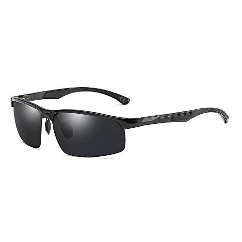 AMZTM Sport Sonnenbrillen für Herren - Polarisierte Brillen zum Radfahren Laufen Fahren, Rechteckiger Al-Mg Rahmen, Unzerbrechliche TAC-Linse, HD Vision UV Schutz (Schwarz Rahmen Grau Linse)