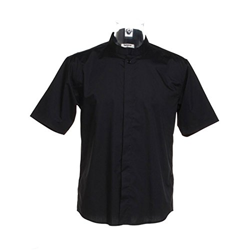 Kustom Kit Mens Bar Gear Mandarin Collar Short Sleeve Shirt Black