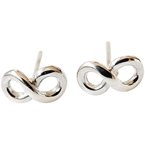 925 infinito orecchini-EAargento infinito simbolo orecchini, argento