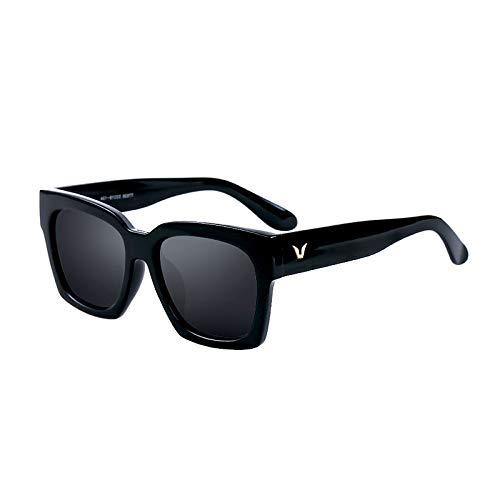 SUNGLASSES Star Modelle Paar quadratische Sonnenbrille Männer Myopie Zustrom koreanische Version der Retro polarisierten Sonnenbrille Frauen Flut Brille (Farbe : Bright Black)