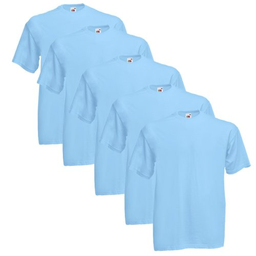 Fruit Of The Loom Original T 5-Pack Logo Men's T-Shirt Himmelblau