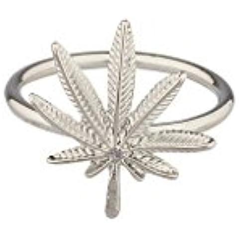 Lux accessori 420Weed foglie di Marijuana, ciondolo anello. - Womens Anello Trio