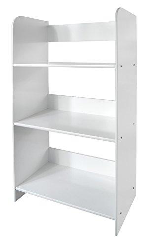 Meuble De Rangement Bibliothèque Blanc 3 Casiers 3 Escalier Niveaux Bois Blanc Pour Les Livres et Jouets Chambre d'Enfant Bibliothèque En Blanc Bois