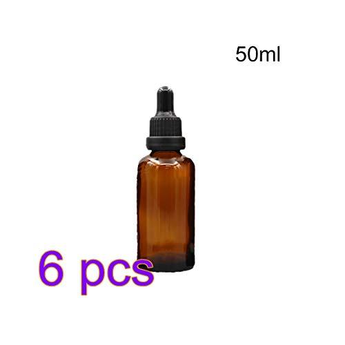 6er Pack Braunglasflaschen für ätherische Öle mit Glaspipette Chemie-Labor, Chemieflasche, Lagerung, Köln Parfums Unter-Flasche (50 ml, 1,7 Oz) - Parfum Köln