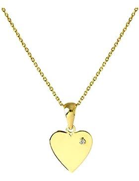 9 Karat (375) Gold gravierbares Herz Anhänger mit winzigem CZ Kristall an 40,6cm Kette