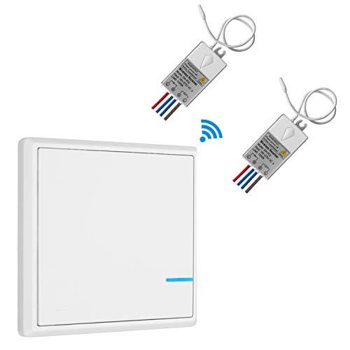 TSSS - Interruptor inalámbrico con 1 interruptor y 2 receptores (frecuencia de...