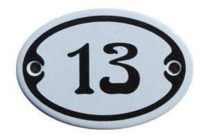 Nummer 13 mini Emaille Schild Jugendstil ca. 4,2 x 6,2 cm Türschild Zimmer Schublade Schrank...