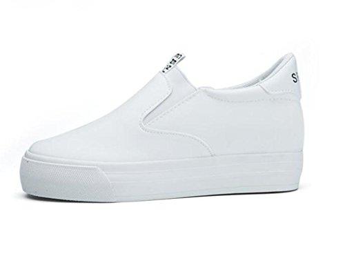SHFANG Dame Schuhe Thick Bottom Lazy Schuhe Canvas Schuhe Bewegung Freizeit Bequeme Studenten Vier Jahreszeiten Schwarz Weiß White