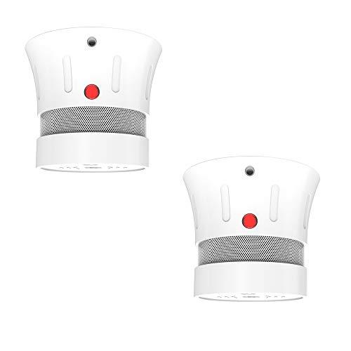 Rauchmelder 10 Jahre Batterie, Kabelloser Feuermelder, EN14604 gelistet ,CE-zertifiziert, Rauchwarnmelder, Brandmelder mit Test-Knopf und Alarm bei niedrigem Batteriestand-FSD002 2er Set