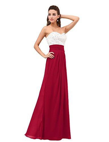 Dresstells, Robe de demoiselle d'honneur/soirée chérie en Mousseline de Soie, Sans Bretelles, avec cristal Rouge Foncé