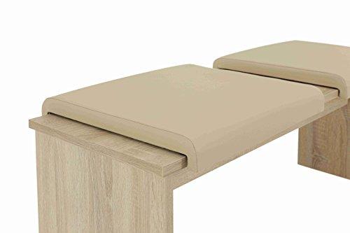 Klemmkissen Karin 2er Set, Kunstleder Beige, B45 x T35 cm, für Sitzbanktiefe 35mm  Apollo