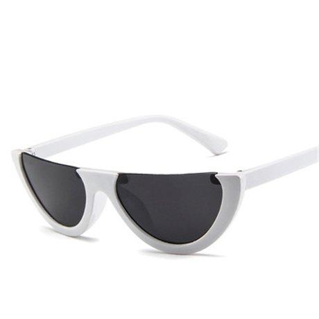KLXEB Die Hälfte Randlose Sonnenbrille Frauen Sonnenbrille, Weiß-Schwarzen Design Farbverlauf