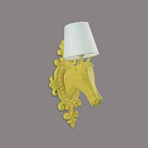 CN Cabeza de Caballo Lámpara de Pared Sala de Estar Moderna Simple Dormitorio Creativo Lámpara de Cabeza de Caballo Lámpara de Pared de Resina Europea,Amarillo