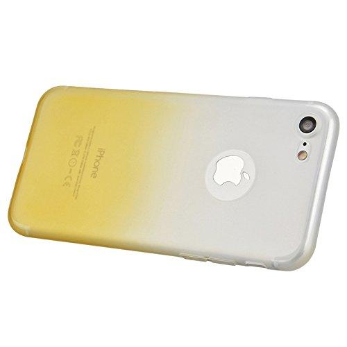iPhone 7 Plus Hülle, Yokata Matte Gradient Jelly Weich Silikon Gel Case Ultra Slim Cover Anti-Fingerprint Schutzhülle Sehr Dünn Handyhülle - Gelb Gelb