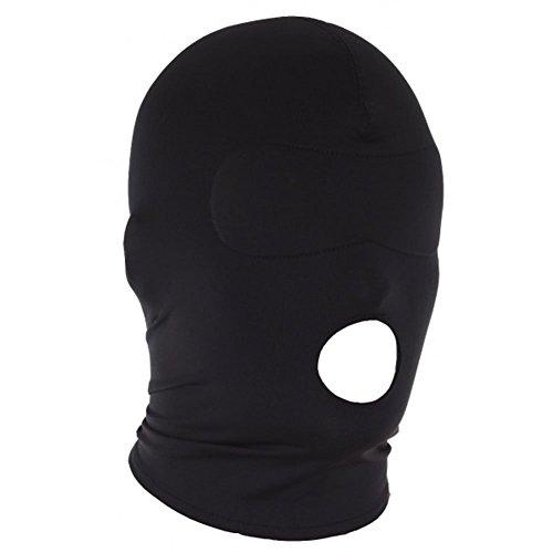SM Maske mit Mundloch, sexy, blickdicht, Bondage Fetisch, BDSM Sexspielzeug für Paare, Männer, Frauen, Sklavinen und Sklaven, Kopfmaske, Schwarz, iLoveU2