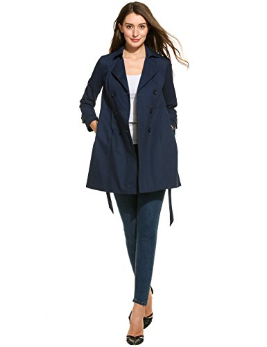 Damen Trenchcoat, Sondereu Mantel Damen Sommer lange Jacke Klassische Casual Double-breasted Turn-down Kragen Gürtel Midi Windbreaker für Frauen Dunkelblau, Khaki (L, Dunkelblau) (Turn-down-kragen Mantel)
