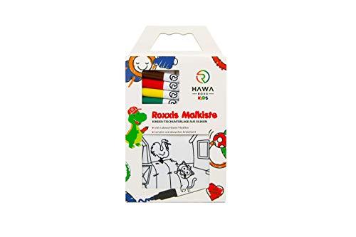 HAWA ROXX Kids Roxxies Malkiste: Bemalbare Kinder-Tischunterlage aus Silikon mit 6 wasserlöslichen Stiften - Roxxies Bauernhof