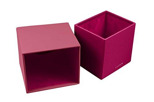 Lucrin - Boite carrée pour mouchoirs - Noir - Cuir Lisse Fuchsia