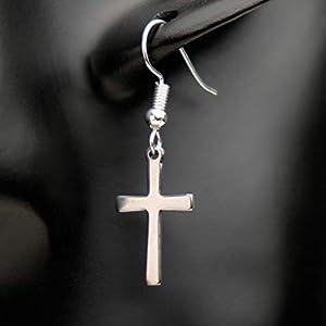Ohrringe CROSS Kreuz Religion Taufe versilbert hängend handmade einzigartig Damen Mädchen Schmuck Design modern filigran Muster Jugendstil