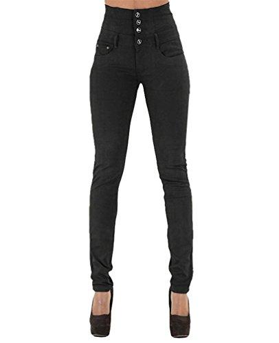 Dooxi donna casuale skinny matita denim pantaloni moda elastici vita alta jeans nero m
