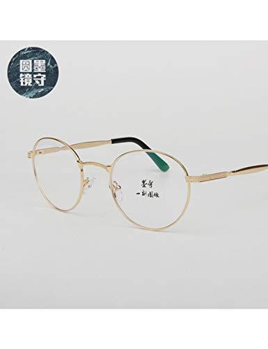 MOMOQU Sun Glasses Literarische Und Künstlerische Retro-Brillenfassung Mit Runder Fassung Aus Gold, C