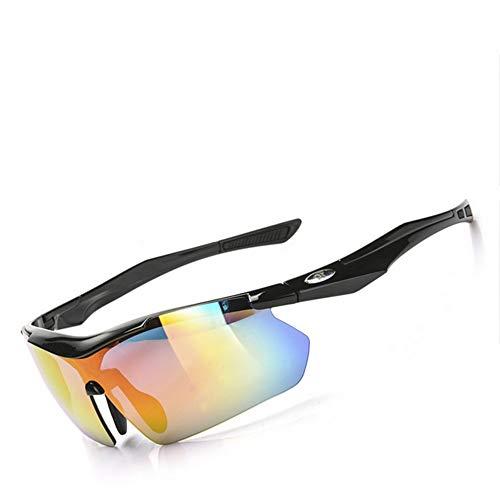yanzi Polarisierte Brille Mountainbike Reiten Polarisierte Brille Laufen Windproof Sport Farbwechsel Anzug,Black