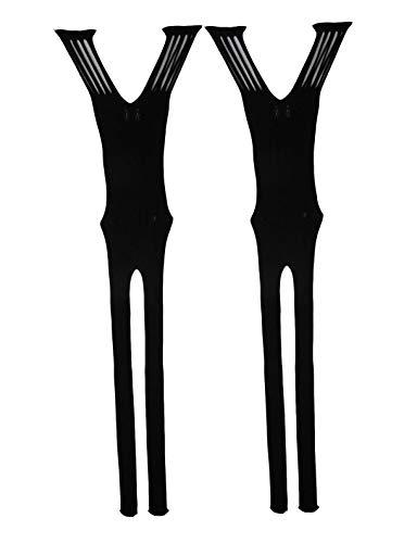 2 Pack Nachthemd (Yulaixuan Damen Netzstrumpfhose Bodysuits Dessous Bodystocking dehnbar Nachthemd 2-Pack (2 schwarz))