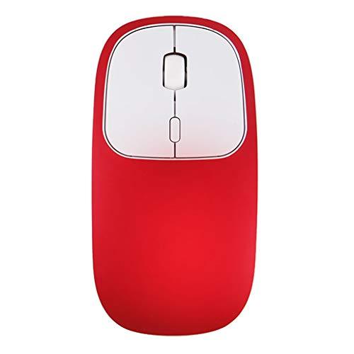 Hengzi Wiederaufladbare 2,4-GHz-Bluetooth-Funkmaus mit Stummschaltung aus Zwei optischen Mäusen (Rot)