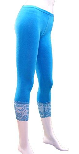 Leggings a 3/4da donna con pizzo, leggins con pizzo stile capri, confezione da due, taglia 36 - 38 Schwarz + Weiß + Dunkelblau